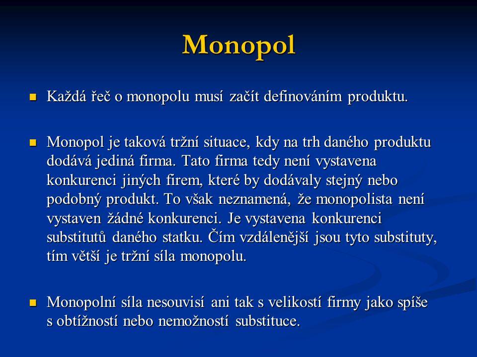 Monopol Každá řeč o monopolu musí začít definováním produktu. Každá řeč o monopolu musí začít definováním produktu. Monopol je taková tržní situace, k