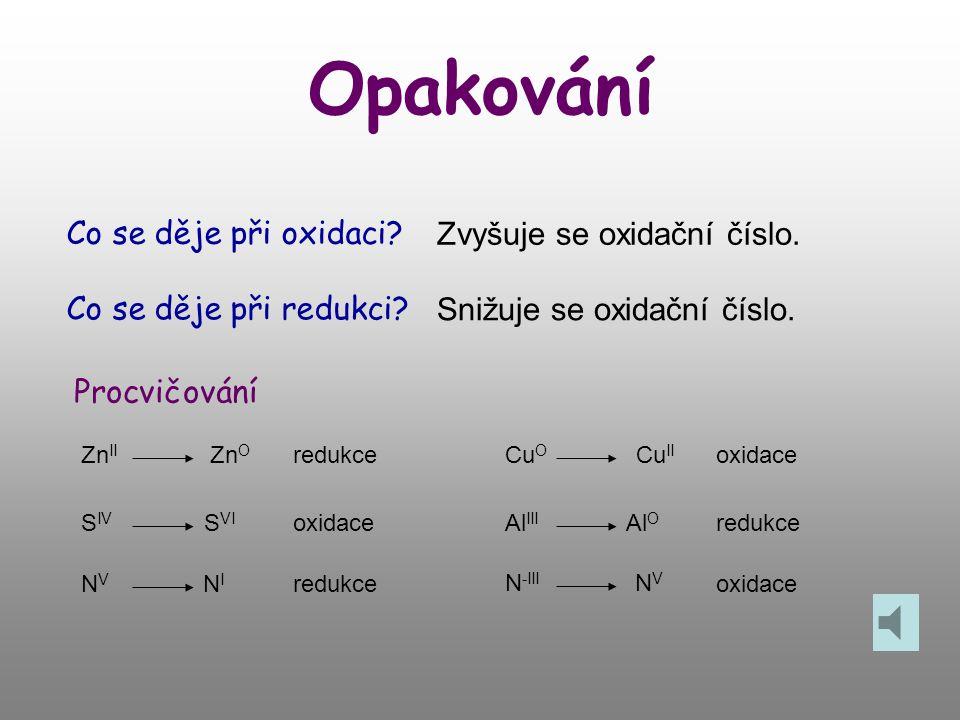 Opakování Co se děje při oxidaci.Zvyšuje se oxidační číslo.