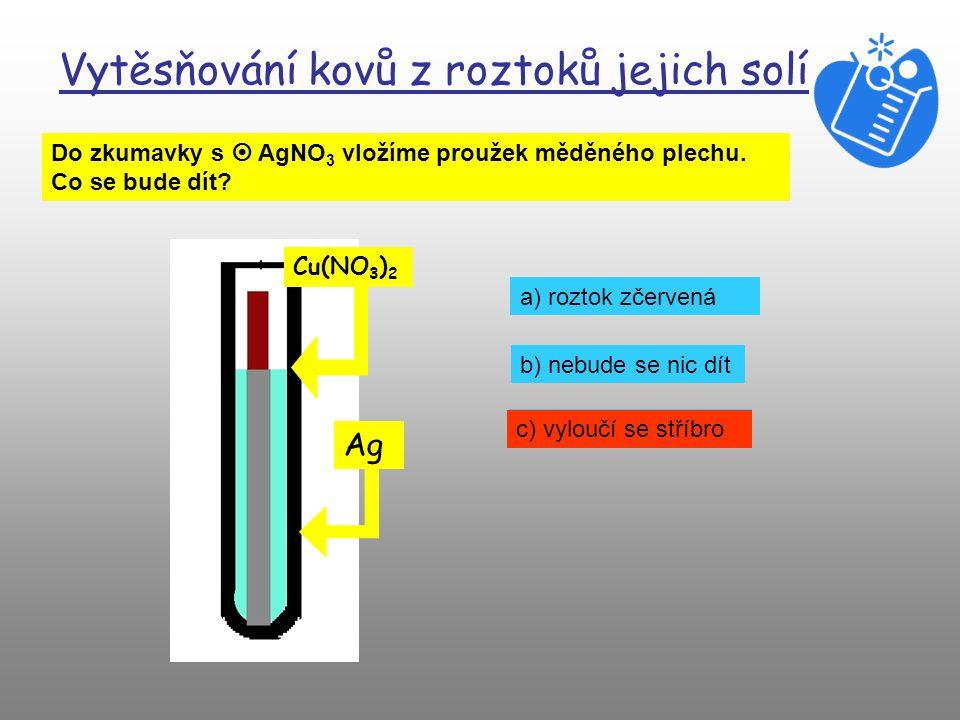Vytěsňování kovů z roztoků jejich solí Do zkumavky s  AgNO 3 vložíme proužek měděného plechu.