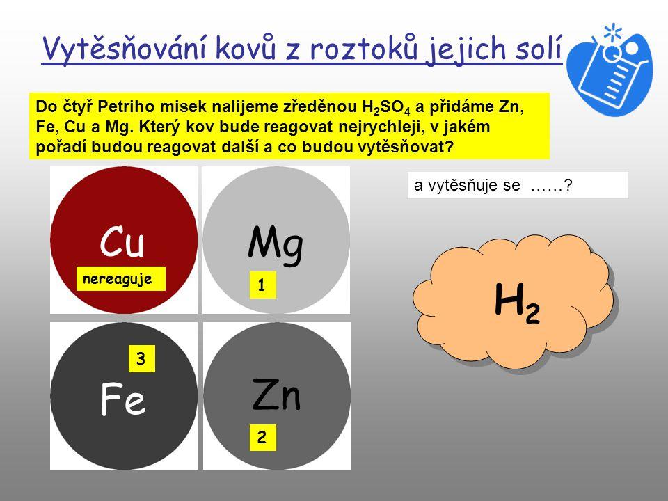 Vytěsňování kovů z roztoků jejich solí Do čtyř Petriho misek nalijeme zředěnou H 2 SO 4 a přidáme Zn, Fe, Cu a Mg.