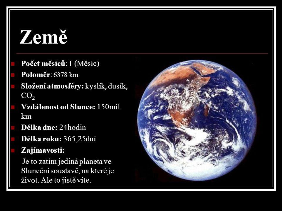 Země Počet měsíců: 1 (Měsíc) Poloměr: 6378 km Složení atmosféry: kyslík, dusík, CO 2 Vzdálenost od Slunce: 150mil.
