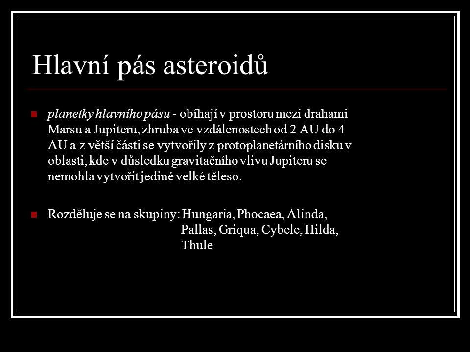 Hlavní pás asteroidů planetky hlavního pásu - obíhají v prostoru mezi drahami Marsu a Jupiteru, zhruba ve vzdálenostech od 2 AU do 4 AU a z větší části se vytvořily z protoplanetárního disku v oblasti, kde v důsledku gravitačního vlivu Jupiteru se nemohla vytvořit jediné velké těleso.