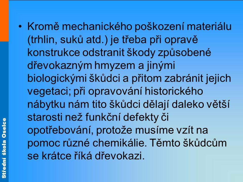 Střední škola Oselce Kromě mechanického poškození materiálu (trhlin, suků atd.) je třeba při opravě konstrukce odstranit škody způsobené dřevokazným h
