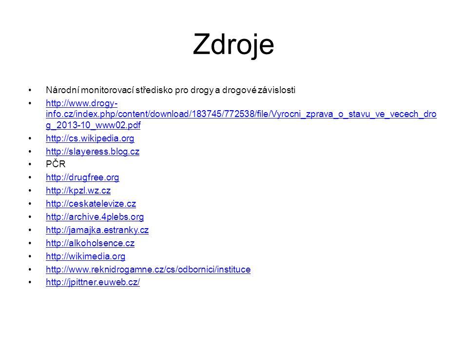 Zdroje Národní monitorovací středisko pro drogy a drogové závislosti http://www.drogy- info.cz/index.php/content/download/183745/772538/file/Vyrocni_z