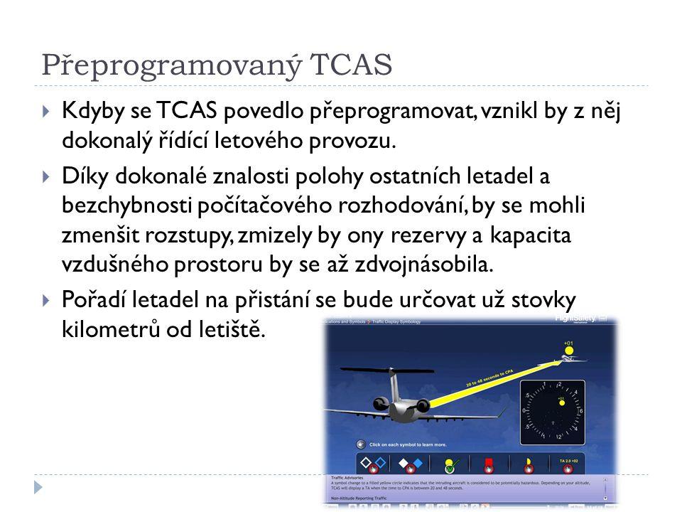 Závěrem  Kdyby se systém TCAS povedlo přeprogramovat tak jak navrhuji, letecká doprava v okolí letišť bude rychlejší, bezpečnější, plynulejší a hlavně méně nákladná  Bohužel v letectví zavedení převratných novinek stojí jednak čas i peníze a tak kdo ví, třeba se někdy v budoucnosti takového revolučního systému dočkáme.