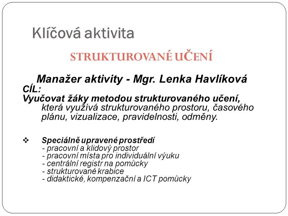 Klíčová aktivita STRUKTUROVANÉ U Č ENÍ Manažer aktivity - Mgr. Lenka Havlíková CÍL: Vyučovat žáky metodou strukturovaného učení, která využívá struktu