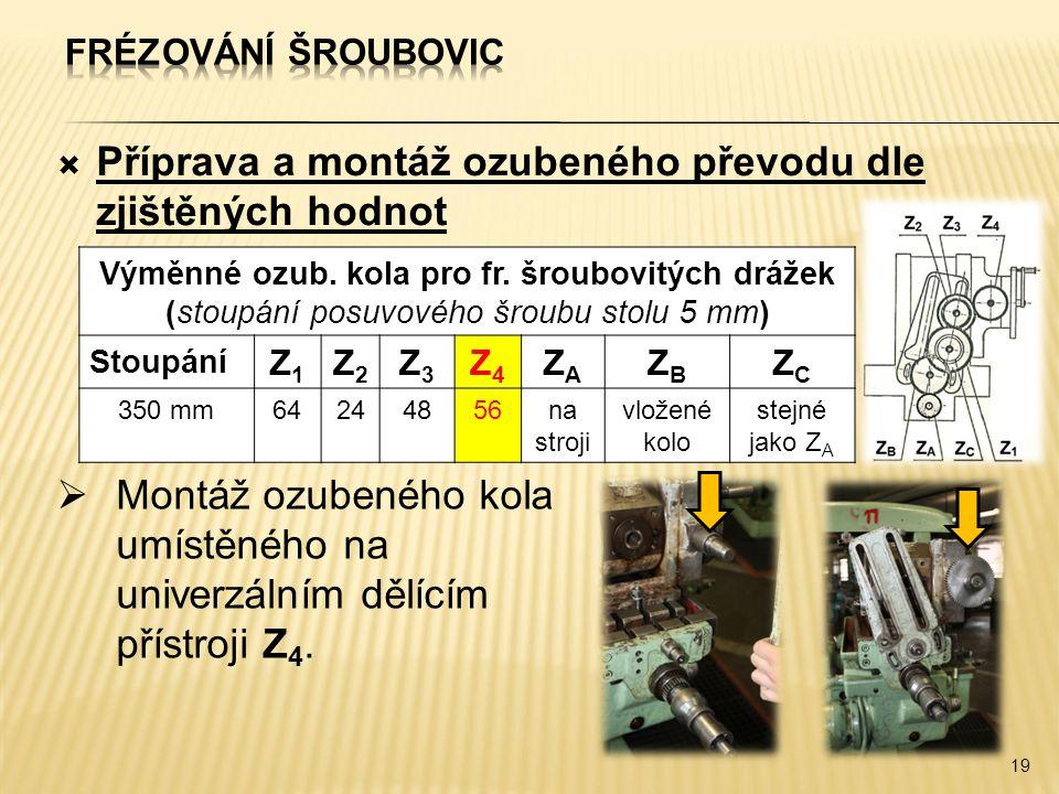  Příprava a montáž ozubeného převodu dle zjištěných hodnot 19 Výměnné ozub. kola pro fr. šroubovitých drážek (stoupání posuvového šroubu stolu 5 mm)