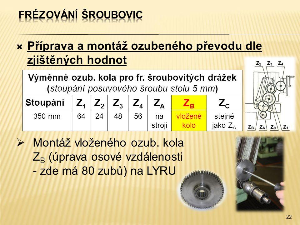  Příprava a montáž ozubeného převodu dle zjištěných hodnot 22 Výměnné ozub. kola pro fr. šroubovitých drážek (stoupání posuvového šroubu stolu 5 mm)