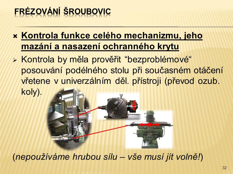 """ Kontrola funkce celého mechanizmu, jeho mazání a nasazení ochranného krytu  Kontrola by měla prověřit """"bezproblémové"""" posouvání podélného stolu při"""