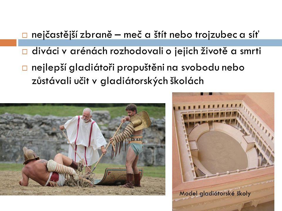  nejčastější zbraně – meč a štít nebo trojzubec a síť  diváci v arénách rozhodovali o jejich životě a smrti  nejlepší gladiátoři propuštěni na svob