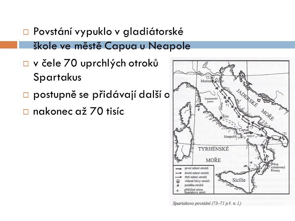  Povstání vypuklo v gladiátorské škole ve městě Capua u Neapole  v čele 70 uprchlých otroků Spartakus  postupně se přidávají další otroci  nakonec
