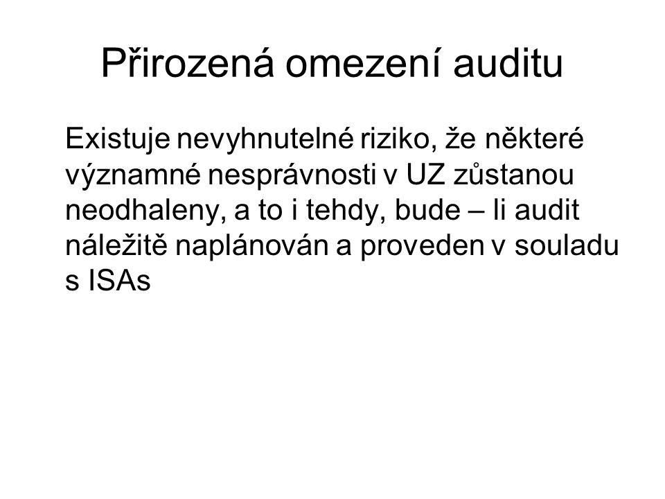 Přirozená omezení auditu Existuje nevyhnutelné riziko, že některé významné nesprávnosti v UZ zůstanou neodhaleny, a to i tehdy, bude – li audit náleži