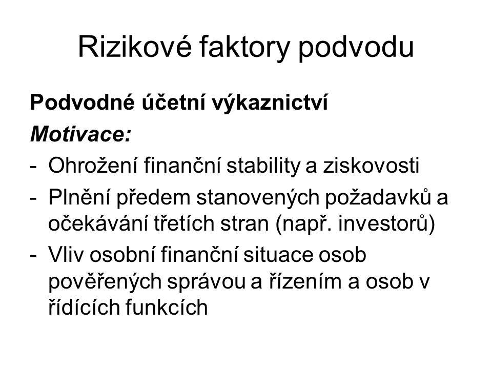 Rizikové faktory podvodu Podvodné účetní výkaznictví Motivace: -Ohrožení finanční stability a ziskovosti -Plnění předem stanovených požadavků a očekáv