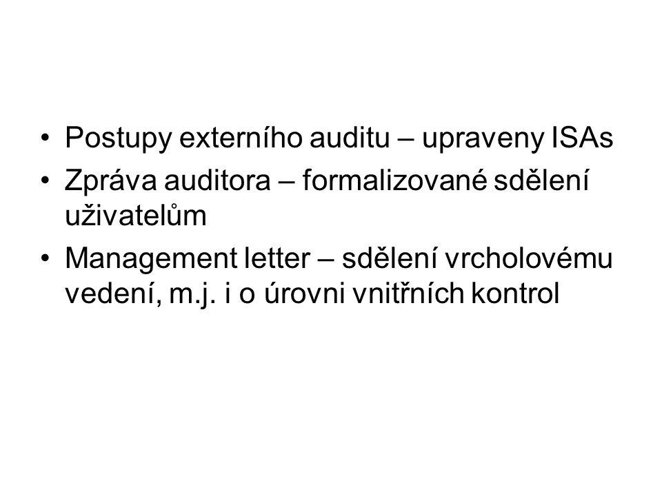Postupy externího auditu – upraveny ISAs Zpráva auditora – formalizované sdělení uživatelům Management letter – sdělení vrcholovému vedení, m.j. i o ú