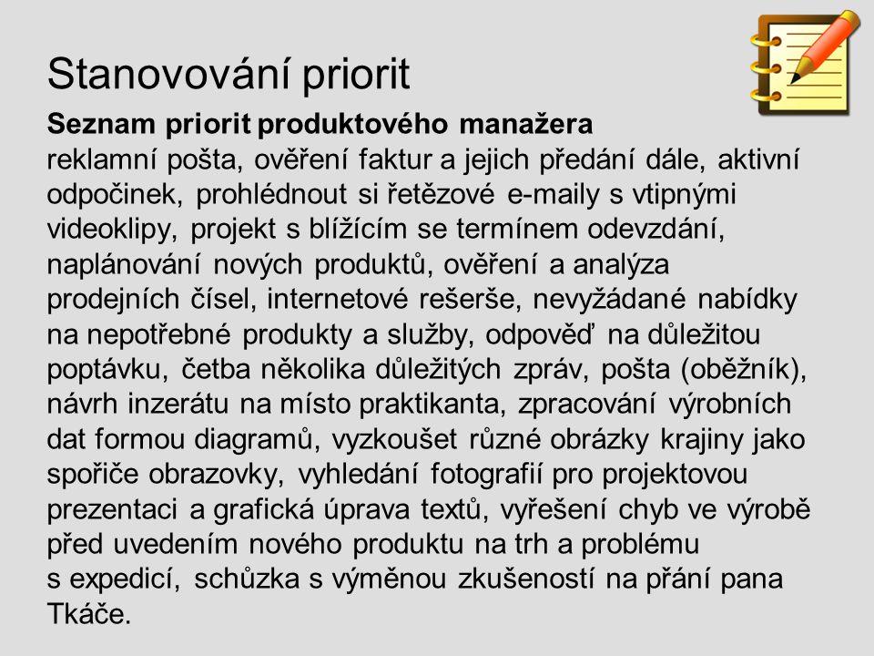 Stanovování priorit Seznam priorit produktového manažera reklamní pošta, ověření faktur a jejich předání dále, aktivní odpočinek, prohlédnout si řetěz