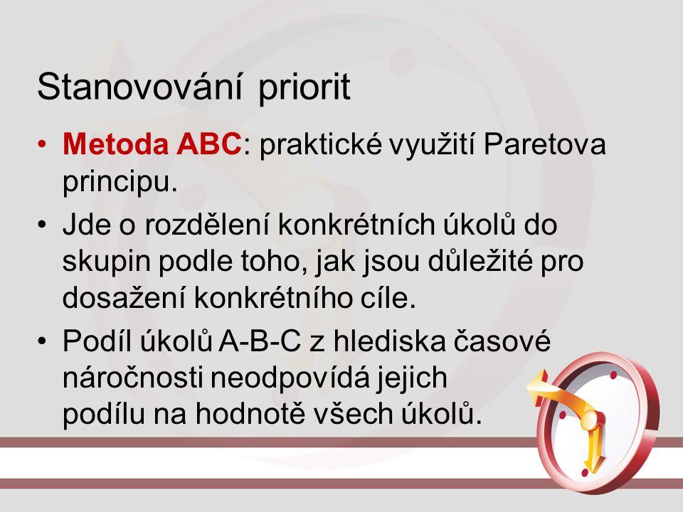 Stanovování priorit Metoda ABC: praktické využití Paretova principu. Jde o rozdělení konkrétních úkolů do skupin podle toho, jak jsou důležité pro dos
