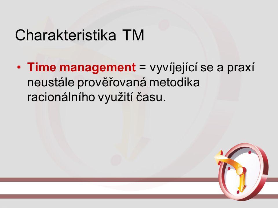 Charakteristika TM Time management = vyvíjející se a praxí neustále prověřovaná metodika racionálního využití času.