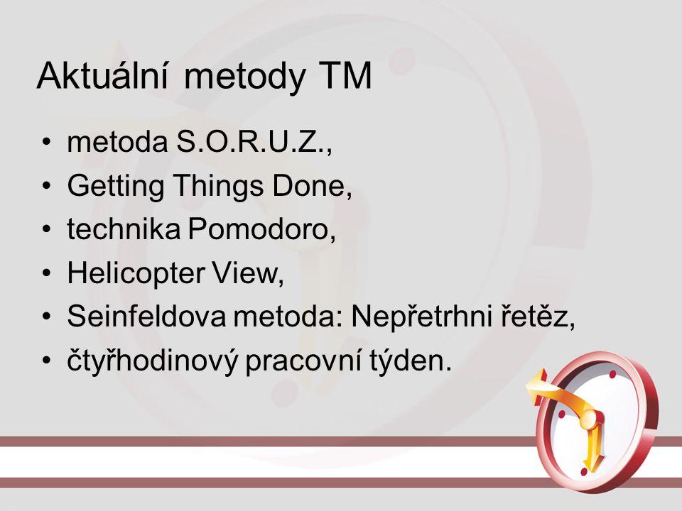 Aktuální metody TM metoda S.O.R.U.Z., Getting Things Done, technika Pomodoro, Helicopter View, Seinfeldova metoda: Nepřetrhni řetěz, čtyřhodinový prac