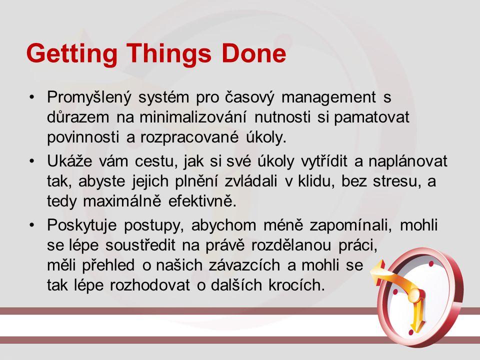 Getting Things Done Promyšlený systém pro časový management s důrazem na minimalizování nutnosti si pamatovat povinnosti a rozpracované úkoly. Ukáže v