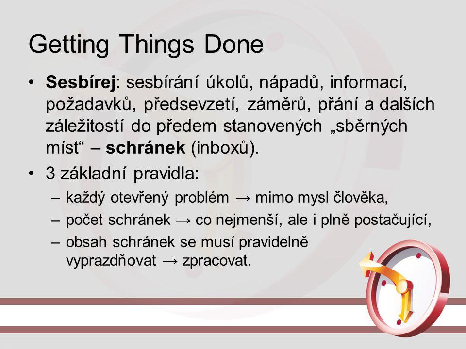 """Getting Things Done Sesbírej: sesbírání úkolů, nápadů, informací, požadavků, předsevzetí, záměrů, přání a dalších záležitostí do předem stanovených """"s"""