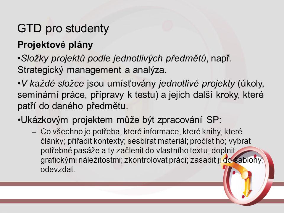 GTD pro studenty Projektové plány Složky projektů podle jednotlivých předmětů, např. Strategický management a analýza. V každé složce jsou umísťovány