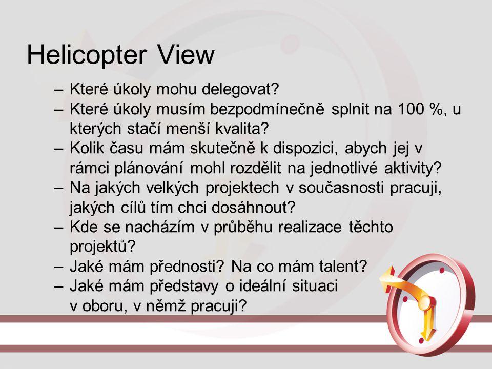 Helicopter View –Které úkoly mohu delegovat? –Které úkoly musím bezpodmínečně splnit na 100 %, u kterých stačí menší kvalita? –Kolik času mám skutečně