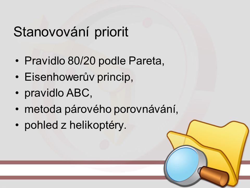 Stanovování priorit Pravidlo 80/20 podle Pareta, Eisenhowerův princip, pravidlo ABC, metoda párového porovnávání, pohled z helikoptéry.