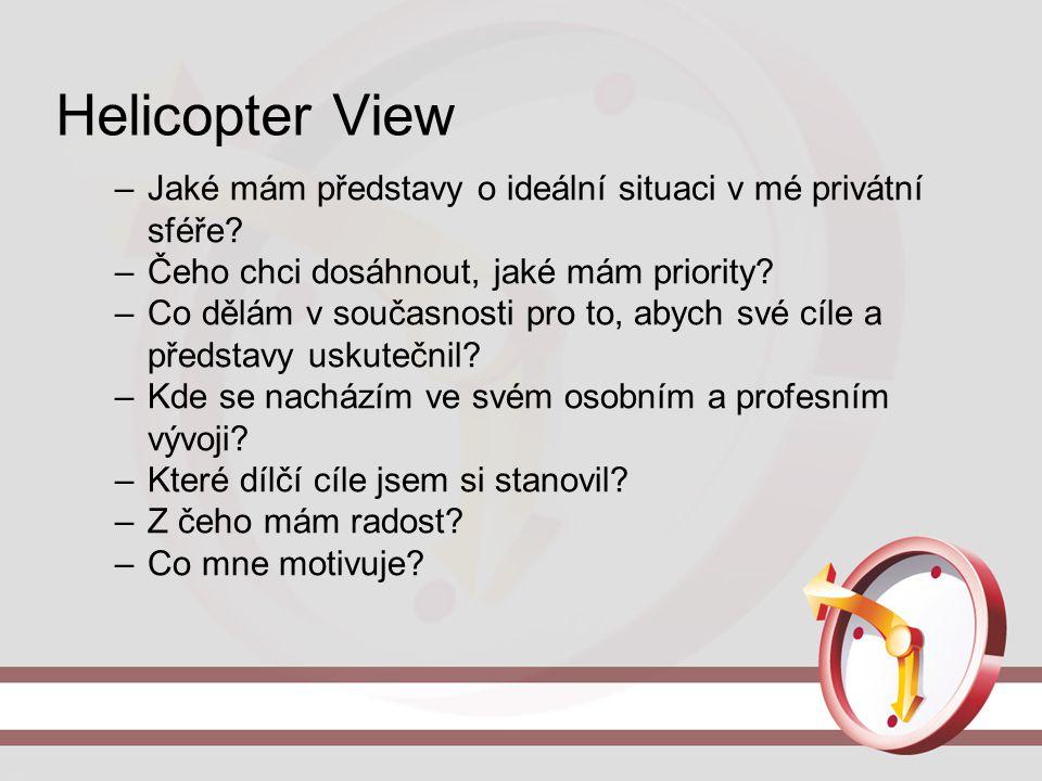 Helicopter View –Jaké mám představy o ideální situaci v mé privátní sféře? –Čeho chci dosáhnout, jaké mám priority? –Co dělám v současnosti pro to, ab