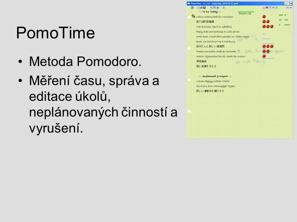 PomoTime Metoda Pomodoro. Měření času, správa a editace úkolů, neplánovaných činností a vyrušení.