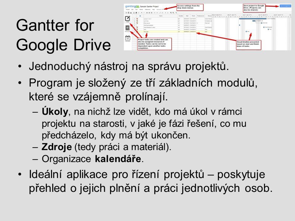 Gantter for Google Drive Jednoduchý nástroj na správu projektů. Program je složený ze tří základních modulů, které se vzájemně prolínají. –Úkoly, na n