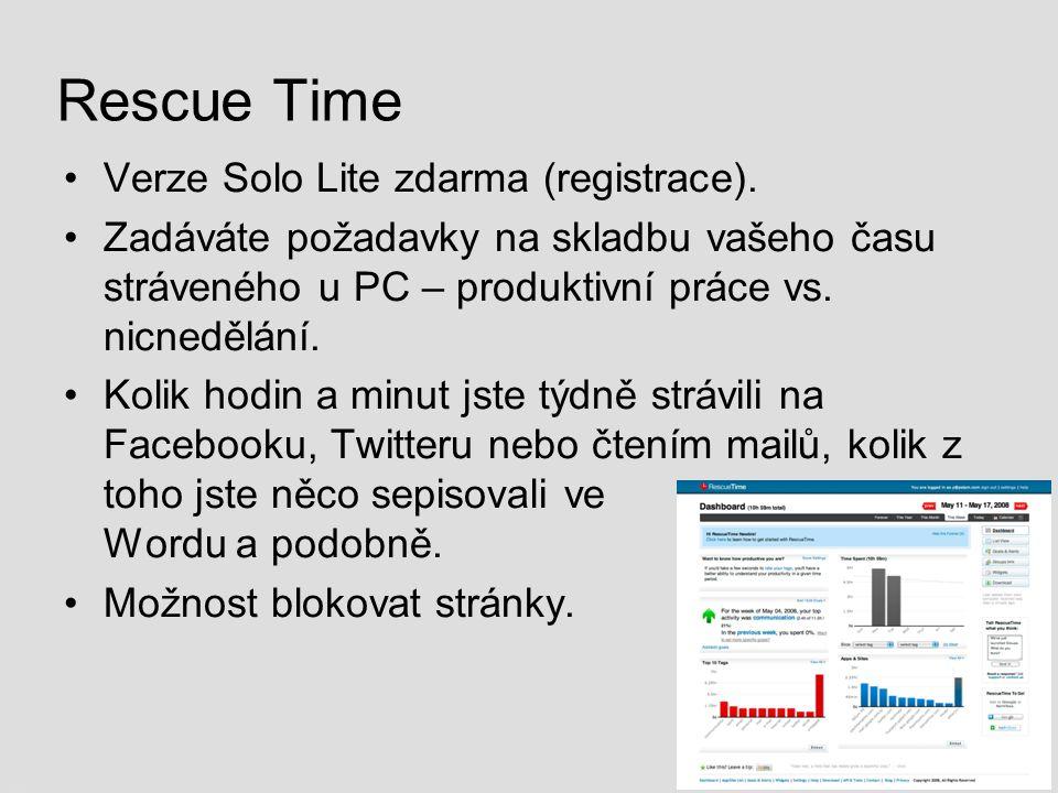 Rescue Time Verze Solo Lite zdarma (registrace). Zadáváte požadavky na skladbu vašeho času stráveného u PC – produktivní práce vs. nicnedělání. Kolik