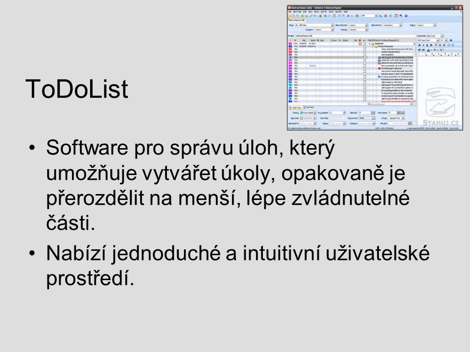 ToDoList Software pro správu úloh, který umožňuje vytvářet úkoly, opakovaně je přerozdělit na menší, lépe zvládnutelné části. Nabízí jednoduché a intu