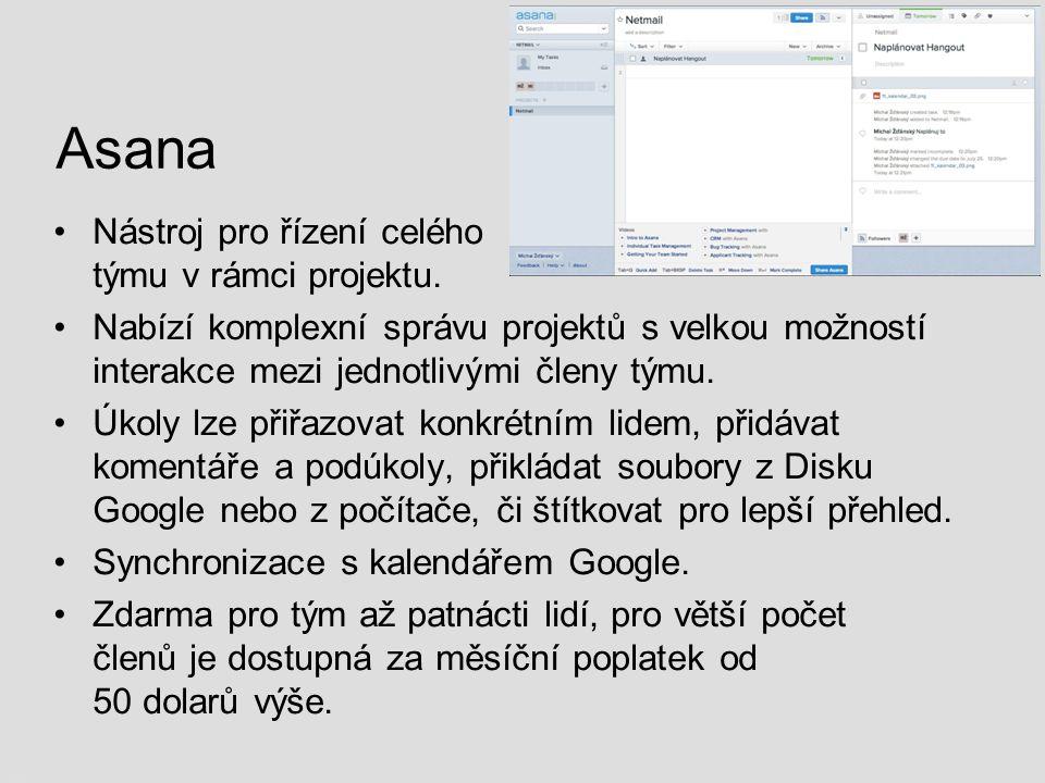 Asana Nástroj pro řízení celého týmu v rámci projektu. Nabízí komplexní správu projektů s velkou možností interakce mezi jednotlivými členy týmu. Úkol