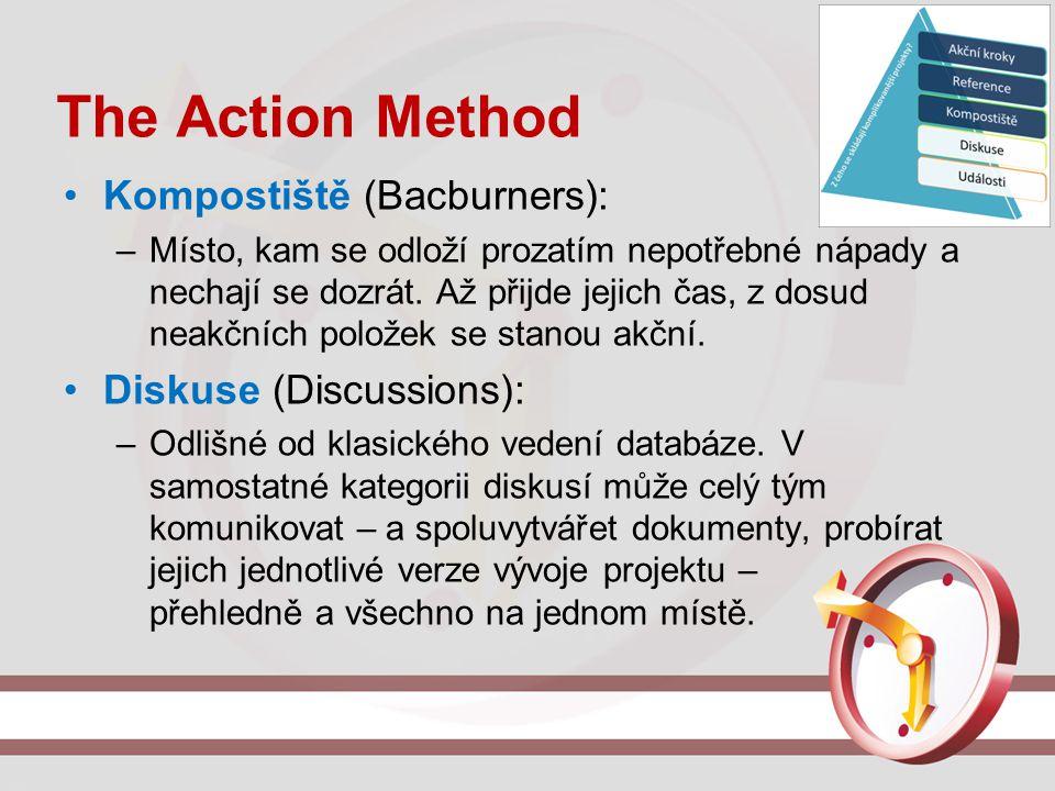 The Action Method Kompostiště (Bacburners): –Místo, kam se odloží prozatím nepotřebné nápady a nechají se dozrát. Až přijde jejich čas, z dosud neakčn