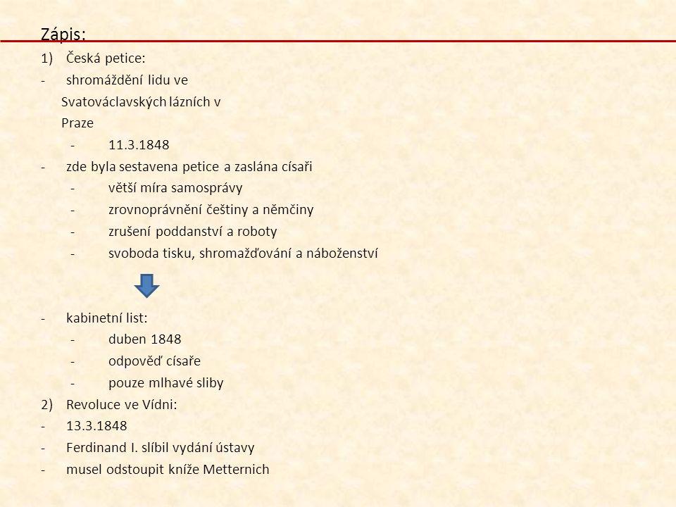 Zápis: 1)Česká petice: -shromáždění lidu ve Svatováclavských lázních v Praze -11.3.1848 -zde byla sestavena petice a zaslána císaři -větší míra samosp