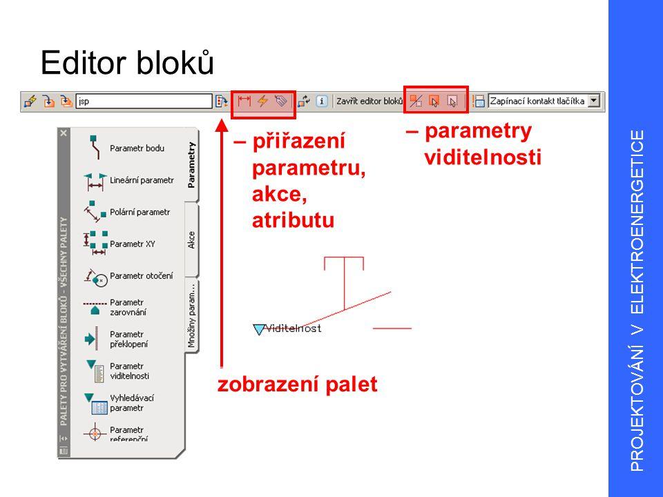 6 Parametry bloků Bod definuje umístění X a Y ve výkrese Lineární vzdálenost mezi dvěma kotevními body definuje vazbu mezi uzly Polární vzdálenost mezi dvěma kotevními body a hodnota úhlu XY vzdálenost X a Y od referenčního bodu parametru Otočení definice úhlu Překlopení (prohození) překlopení objektů PROJEKTOVÁNÍ V ELEKTROENERGETICE
