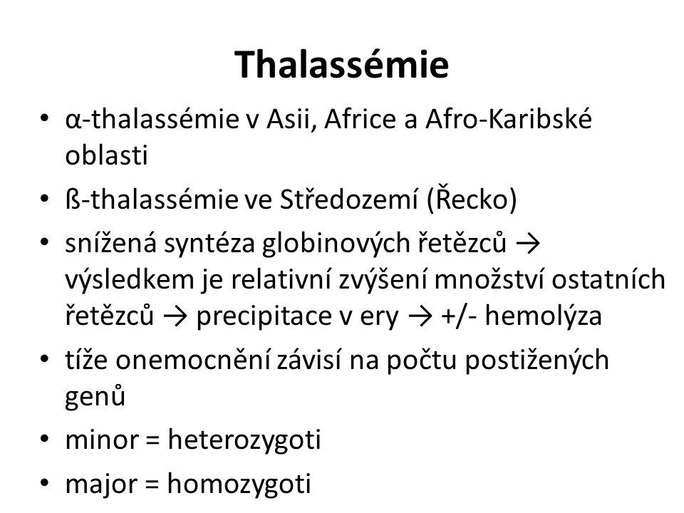 Thalassémie α-thalassémie v Asii, Africe a Afro-Karibské oblasti ß-thalassémie ve Středozemí (Řecko) snížená syntéza globinových řetězců → výsledkem j