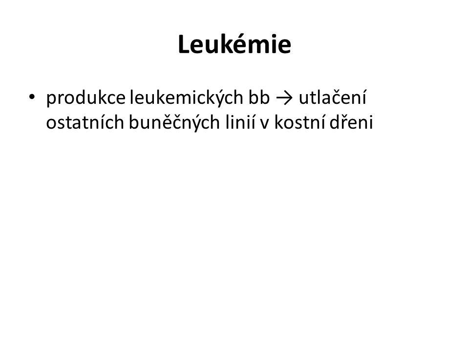 Leukémie produkce leukemických bb → utlačení ostatních buněčných linií v kostní dřeni