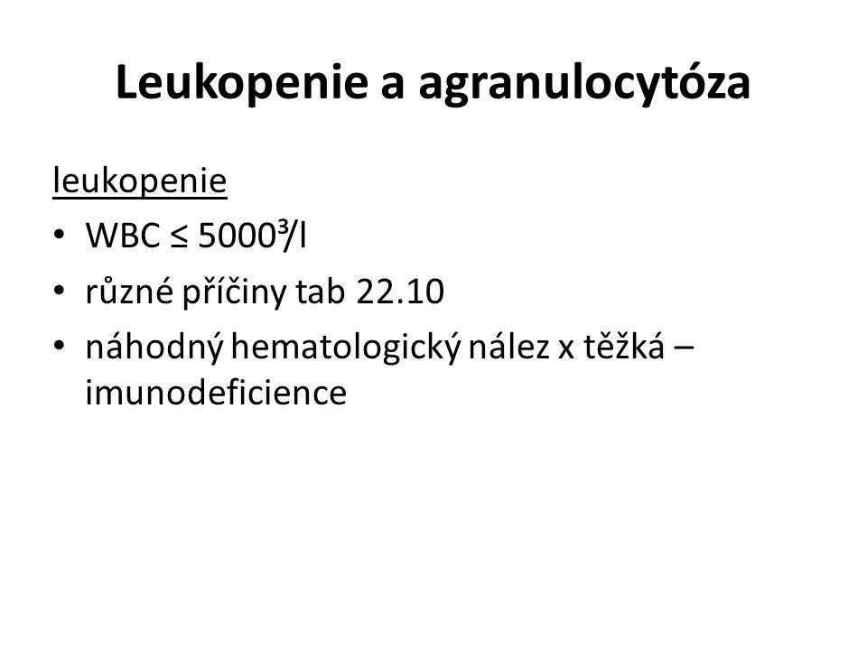 Leukopenie a agranulocytóza leukopenie WBC ≤ 5000³/l různé příčiny tab 22.10 náhodný hematologický nález x těžká – imunodeficience