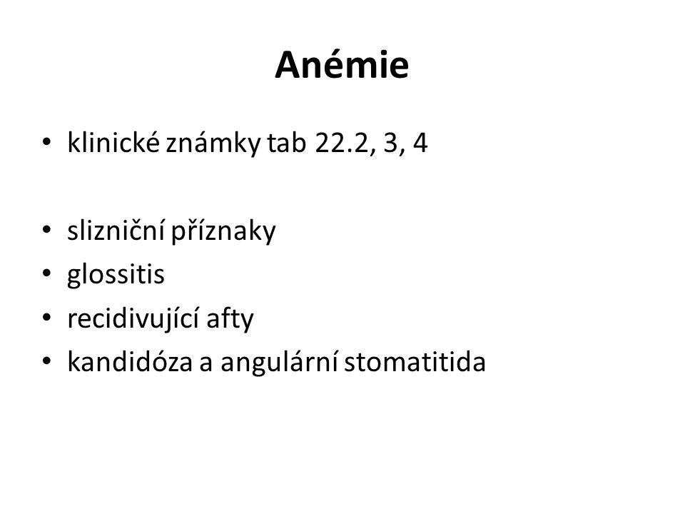 Anémie klinické známky tab 22.2, 3, 4 slizniční příznaky glossitis recidivující afty kandidóza a angulární stomatitida