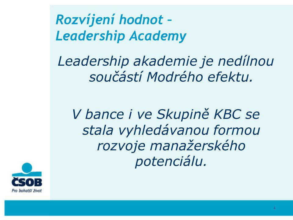 4 Rozvíjení hodnot – Leadership Academy Leadership akademie je nedílnou součástí Modrého efektu. V bance i ve Skupině KBC se stala vyhledávanou formou