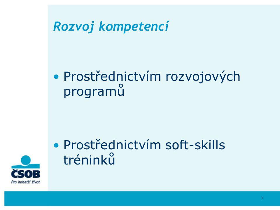 7 Rozvoj kompetencí Prostřednictvím rozvojových programů Prostřednictvím soft-skills tréninků