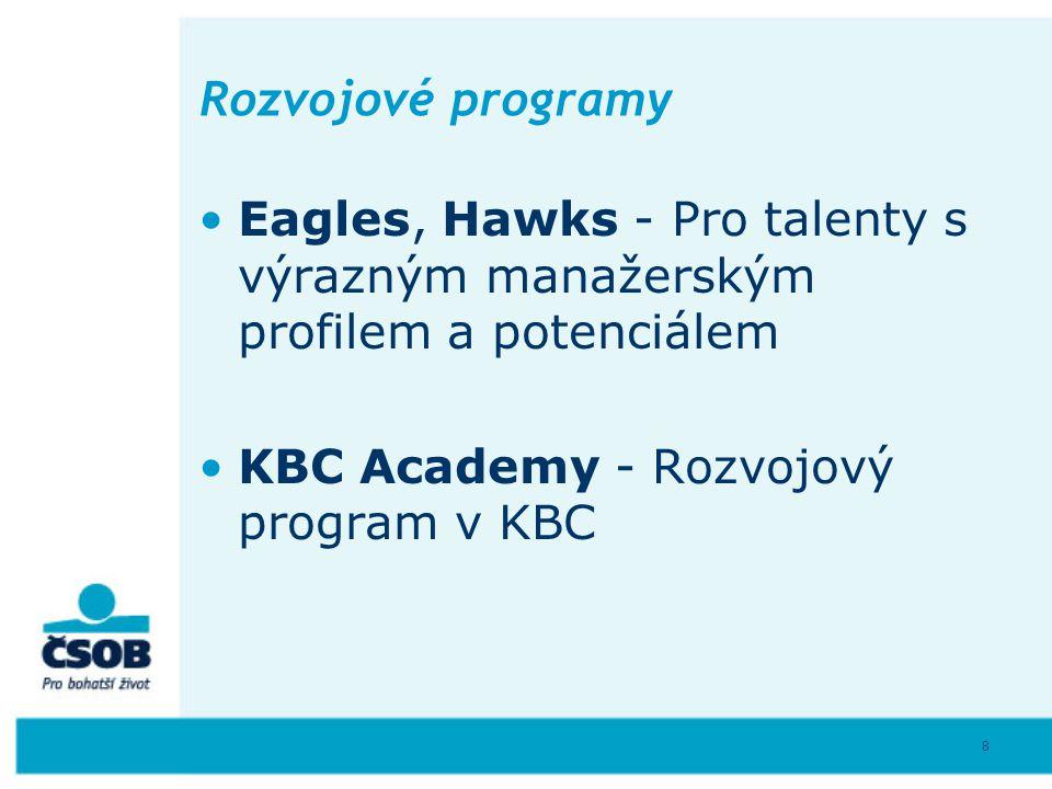 8 Rozvojové programy Eagles, Hawks - Pro talenty s výrazným manažerským profilem a potenciálem KBC Academy - Rozvojový program v KBC