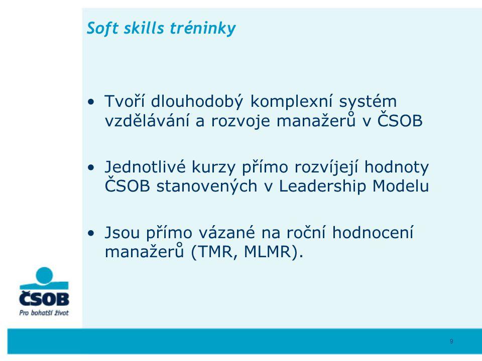 9 Soft skills tréninky Tvoří dlouhodobý komplexní systém vzdělávání a rozvoje manažerů v ČSOB Jednotlivé kurzy přímo rozvíjejí hodnoty ČSOB stanovenýc