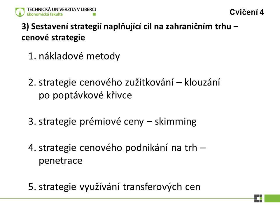 Cvičení 4 3) Sestavení strategií naplňující cíl na zahraničním trhu – cenové strategie 1.nákladové metody 2.strategie cenového zužitkování – klouzání