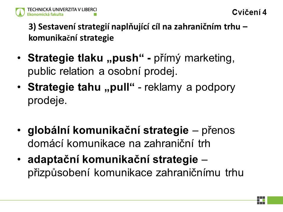 """Cvičení 4 3) Sestavení strategií naplňující cíl na zahraničním trhu – komunika č ní strategie Strategie tlaku """"push"""" - přímý marketing, public relatio"""
