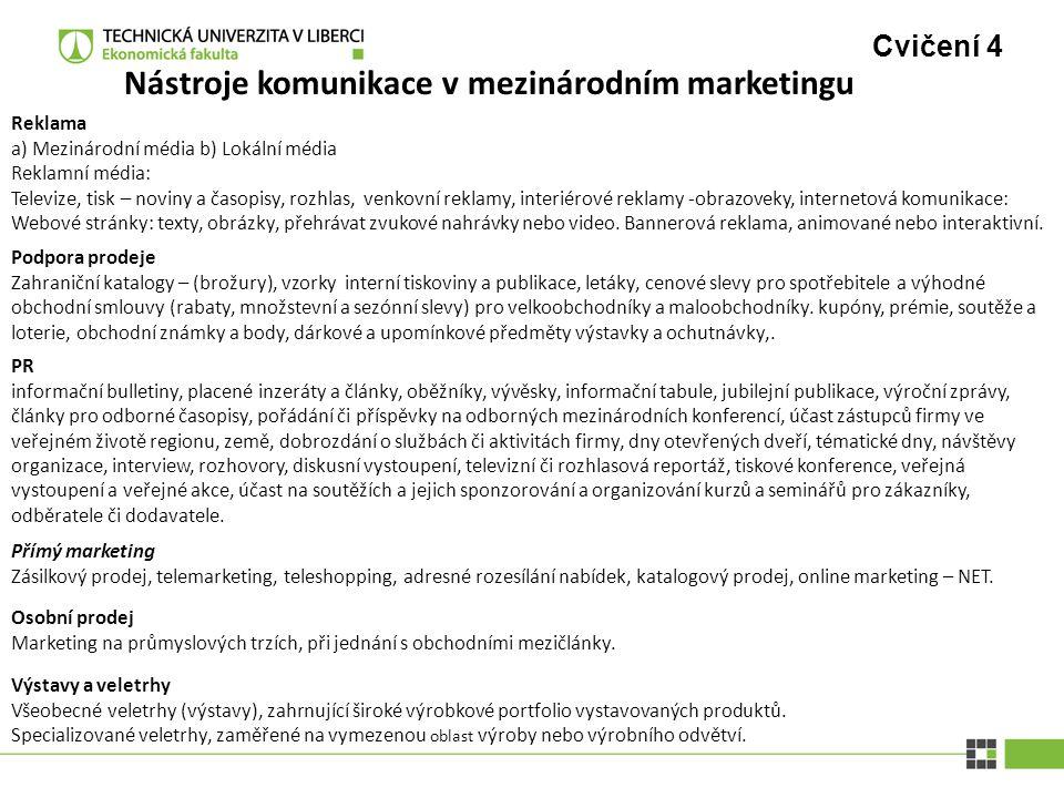 Cvičení 4 Nástroje komunikace v mezinárodním marketingu Reklama a) Mezinárodní média b) Lokální média Reklamní média: Televize, tisk – noviny a časopi