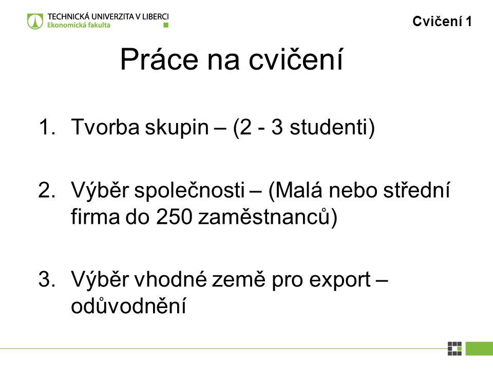 Práce na cvičení Cvičení 1 1.Tvorba skupin – (2 - 3 studenti) 2.Výběr společnosti – (Malá nebo střední firma do 250 zaměstnanců) 3.Výběr vhodné země p