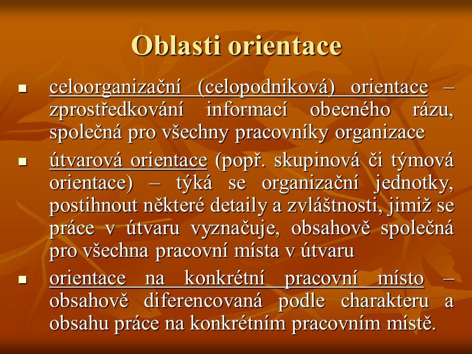 Oblasti orientace celoorganizační (celopodniková) orientace – zprostředkování informací obecného rázu, společná pro všechny pracovníky organizace celo