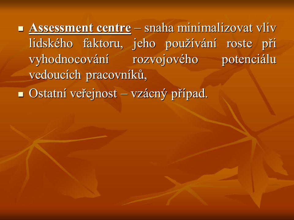 Assessment centre – snaha minimalizovat vliv lidského faktoru, jeho používání roste při vyhodnocování rozvojového potenciálu vedoucích pracovníků, Ass